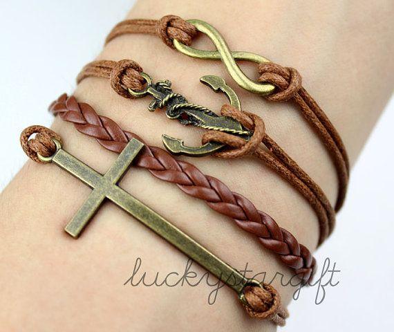 Encanto infinito y fresco pulsera cruzada del ancla y de cobre con correa de cuero marrón marrón tejida pulsera de moda-Q174