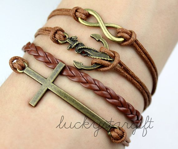 Infinite charm and cool anchor & copper cross bracelet with brown strap brown leather woven fashion bracelet-Q174 by luckystargift, $4.89