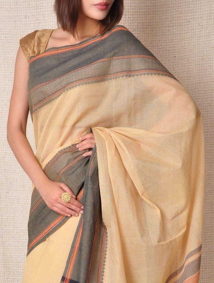 Cream Handloom Saree with Gray Border