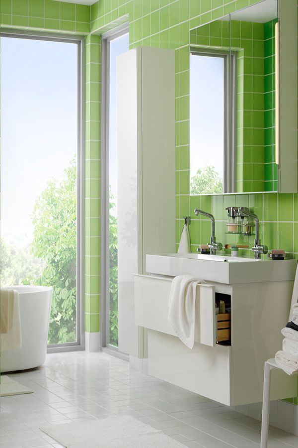 Balance Bright Tile In Your Bathroom With Neutral Or White Bathroom Furniture Find Ikea Bathroom