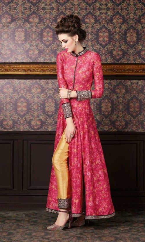 Magenta and Beige Hued Party wear Anarkali Suit