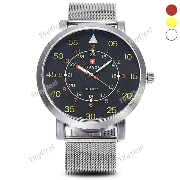 стильный большой круглый дело нержавеющей стали мужчины, кварцевые запястье часы серебряные часы для мужчин WWT-403704