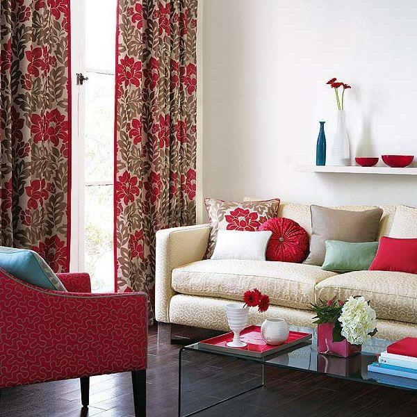 Gardinen Wohnzimmer Schnes Muster Rot Beige Kombination