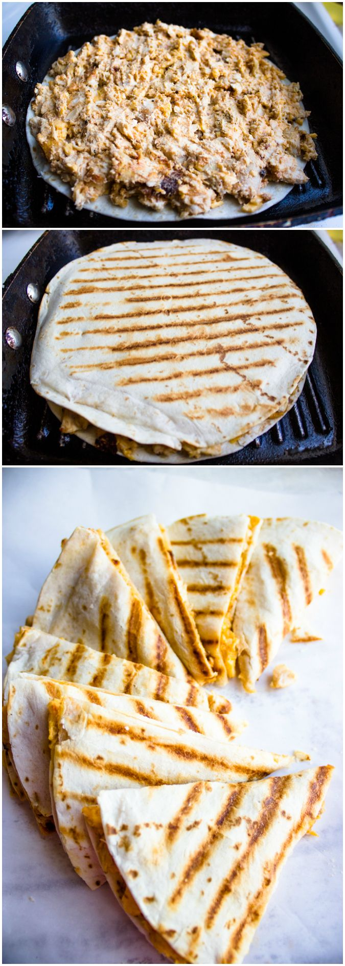 easy chicken quesadillas - added some green pepper and Parmesan cheese. Huge hit. Great flavor!