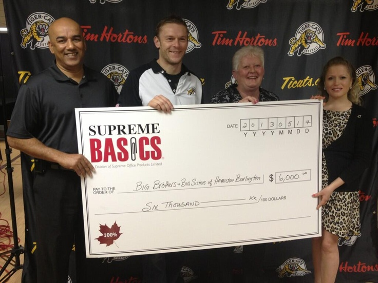 Big cheque, even bigger thanks!   Last Friday, we received a $6,000 donation from @Supreme Basics in partnership with @Hamilton Tiger-Cats for Catches for Kids.   Thank you to Supreme Basics and the Tiger Cats for including BBBS of Hamilton and Burlington in this wonderful opportunity!   To learn more about Catches for Kids, visit http://www.callbigbrothers.com/en/Home/news/tigercatsandsupremeofficebasicspartnertomakecatche.aspx