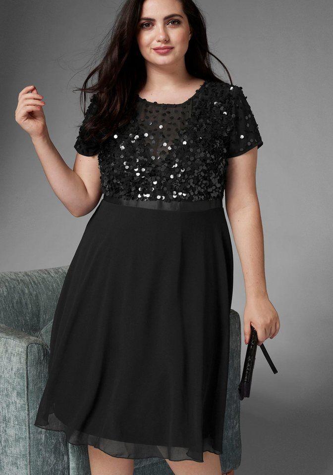 61c58eb64987d GMK Curvy Collection A-Linien-Kleid mit glitzernden Pailetten online kaufen    OTTO