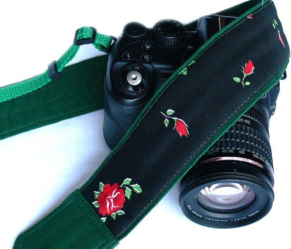 Roses Camera Strap. Padded Camera Strap. Canon Nikon Camera