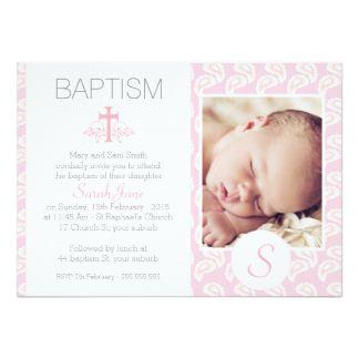 Girls Pink Paisley Photo Baptism Invitation