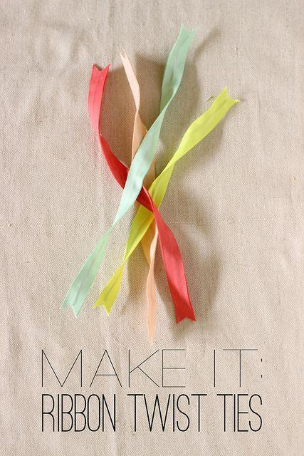 Make It: DIY Ribbon Twist Ties by fabricpaperglue, via Flickr