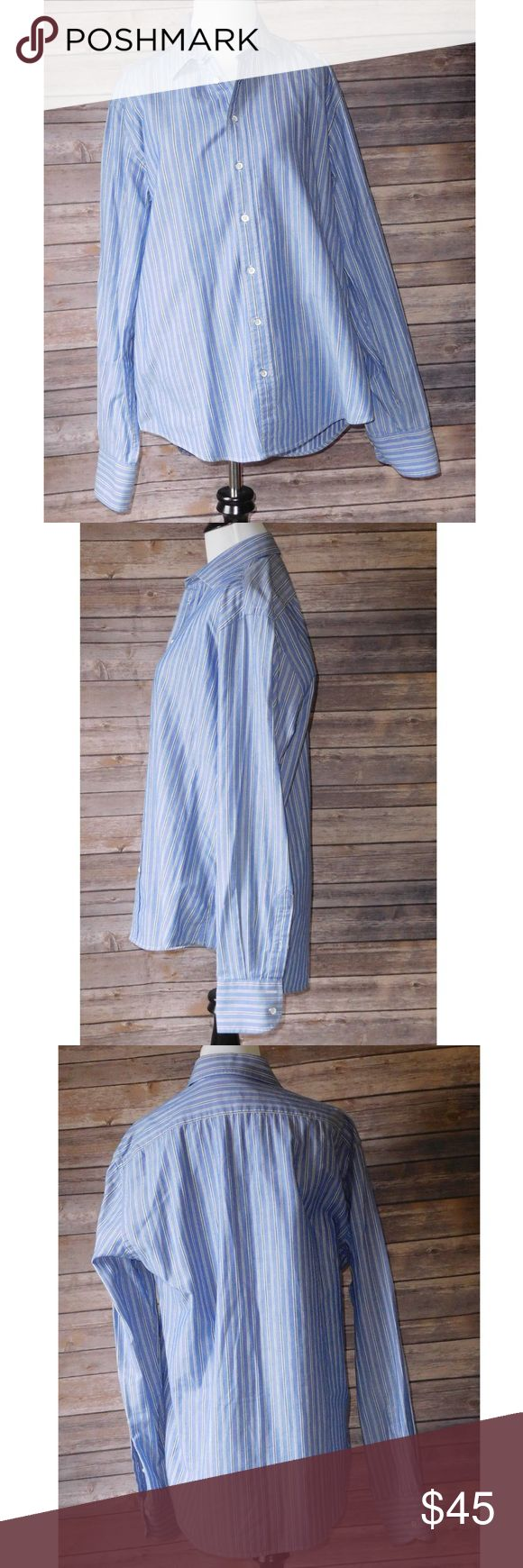 """Rag & Bone New York Blue Striped Button Up Blouse Gently used Women's Rag & Bone New York Career Blouse Long sleeve with striped print. 100% Cotton, Size 16 Retails $295!  Approximate Measurements Bust: 22"""" (measured pit to pit) Length: 29"""" Shoulder to hem: 26 1/2"""" Shoulder seam to cuff: 26""""     ❌I do NOT trade ❌ 🛍10% off 2+ item bundles 📸Instagram @Yami.Boutique (Exclusive Pop Up Discount codes ONLY for my followers!) rag & bone Tops Button Down Shirts"""