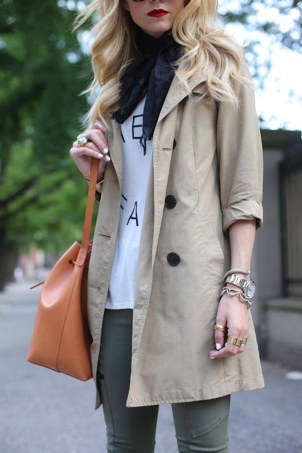 trench + leggings + scarf. great fall fashion.