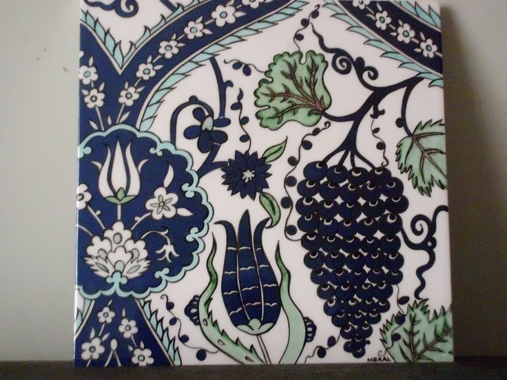 20x20 cm Ceramic tile.handmade by Meral Cetin