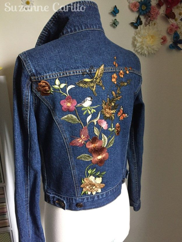 Diy Embroidered Patched Jean Jacket Denim Jacket Embroidery Embroidered Clothes Denim Embroidery