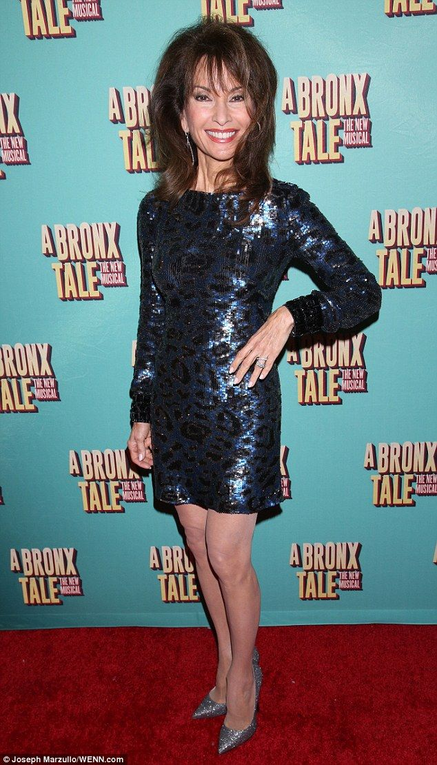 Veteran soap star: Susan Lucci showed off her big hair and slim pins in a dark blue sequinned mini dress and a pair of silver sparkly pumps