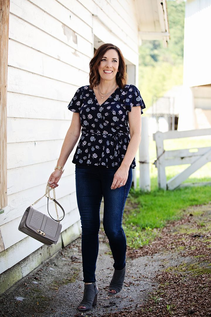 43fc8e331a99 Early Fall Outfit: LOFT Blossom Wrap Top + 7FAM High Waist Skinnies with Vince  Camuto Kentvi Booties