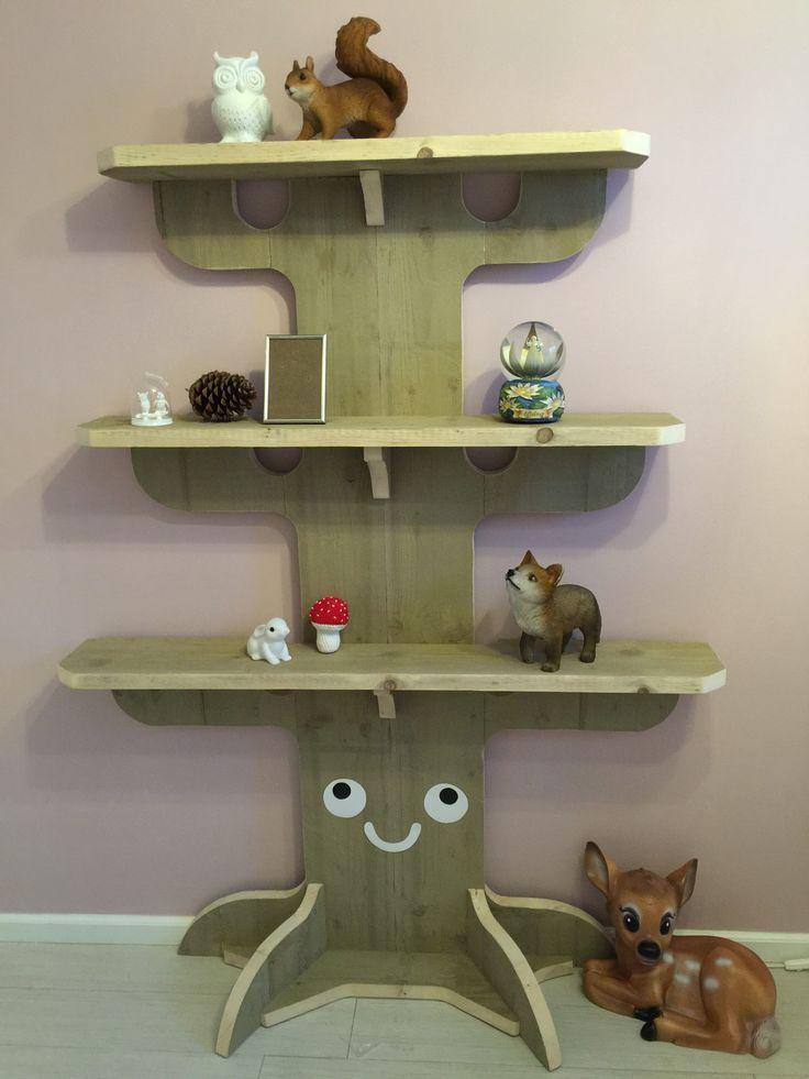 Boom boekenplank bos wood woodland tree bookshelf forest baby nursery babykamer kinderkamer