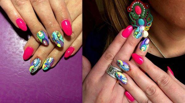 SPN: UV LaQ Hard Rock Pink, My wedding Dress i akrylowe farby. Nails by: Natalia Lis