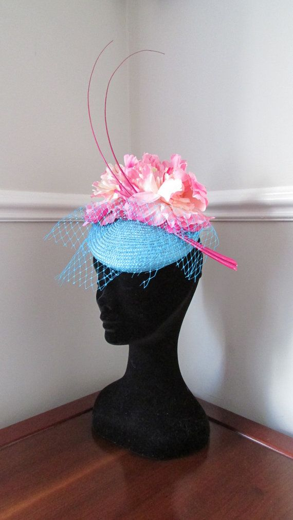 Turquoise Pillbox Hat Wedding Fascinator by HatCoutureDesigns