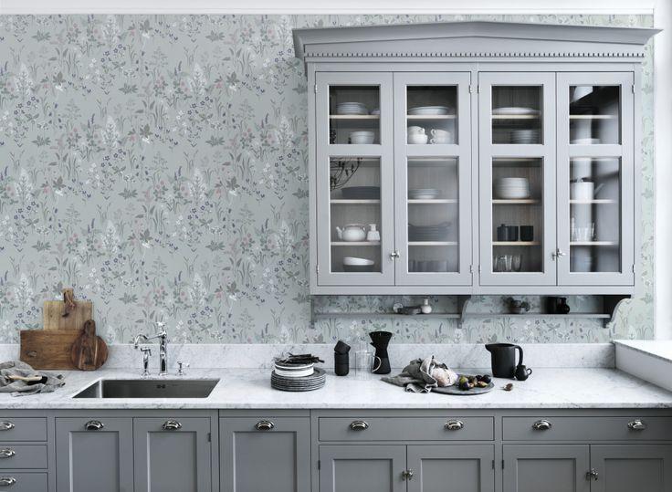 Die besten 25+ Grey kitchen wallpaper Ideen auf Pinterest   Graue ...