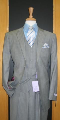 2 Button 3 Piece Grey Pinstripe Wool and Cashmere Flat Front Suit WC2V-135