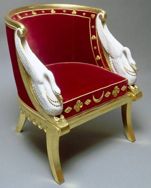 Gondola chair belonging to Empress Josephine of France, attributed to Jacob Frères, painted and bronzed wood, red velvet upholstery, ca. 1802-03
