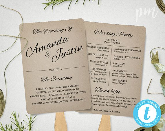 Printable Wedding Program Template, Fan Wedding Program Template, Instant Download, Ceremony Program, Kraft Paper Program