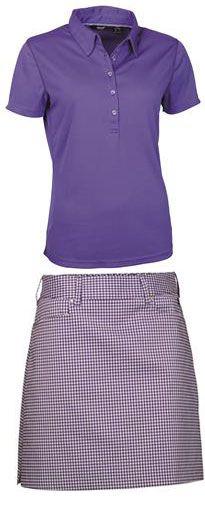Abacus Ladies Cleek Golf Outfits (Shirt & Skort) - Purple Checked