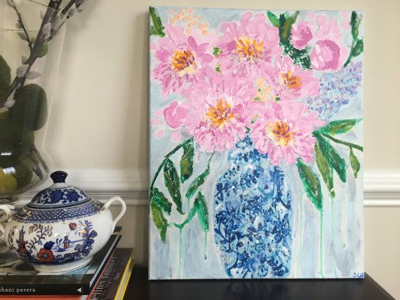 pink and white frilly peonies painting, purple hyacinths painting, blue and white chinoiserie ginger jar vase, blue ming asian vase art