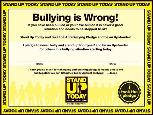 Classroom Pledge Ideas ~ Anti bullying pledge « stand up