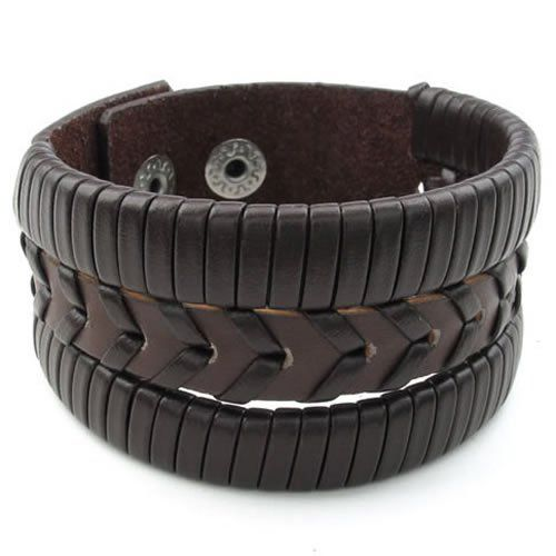 KONOV Jewelry Mens Leather Alloy Bracelet, Braided Cuff Bangle, Fits 7.5 - 8 inch, Brown KONOV Jewelry,http://www.amazon.com/dp/B00GCFL7I6/ref=cm_sw_r_pi_dp_AsNRsb0QMM04QE49