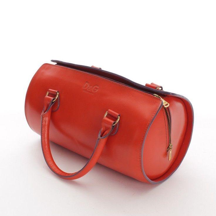 D&G Schultertasche Orange Damen Tasche Tasche Bag Sac Leder Leather Handtasche