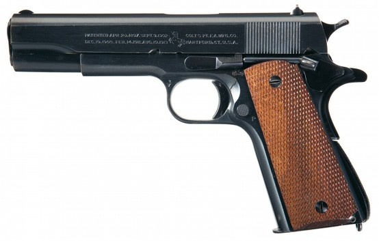 An early World War II-era M1911A1 .45 Colt pistol