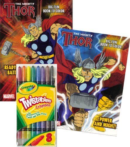 "Marvel Comics THOR® Coloring Book Set with Crayola Twistables Crayons by Marvel Comics. $18.99. Games, puzzles, mazes and coloring fun with Marvel Comics Thor ® characters.. Great gift for your favorite Thor enthusiast! This coloring and activity set will provide many hours of fun!. Delight your THOR fan with this Marvel Comics Thor Coloring and Activity book & Crayola Twistable Crayons.. Books measure approximately 8"" x 10.75"" and have about 90 pages.. Includes package of f..."