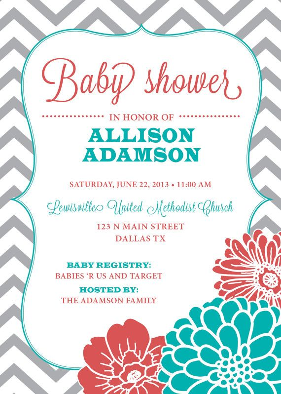 Baby Shower Invitation, Chevron, Floral, Customize Colors, Girl, Boy, Neutral (PRINTABLE FILE), Coral, Aqua, Teal