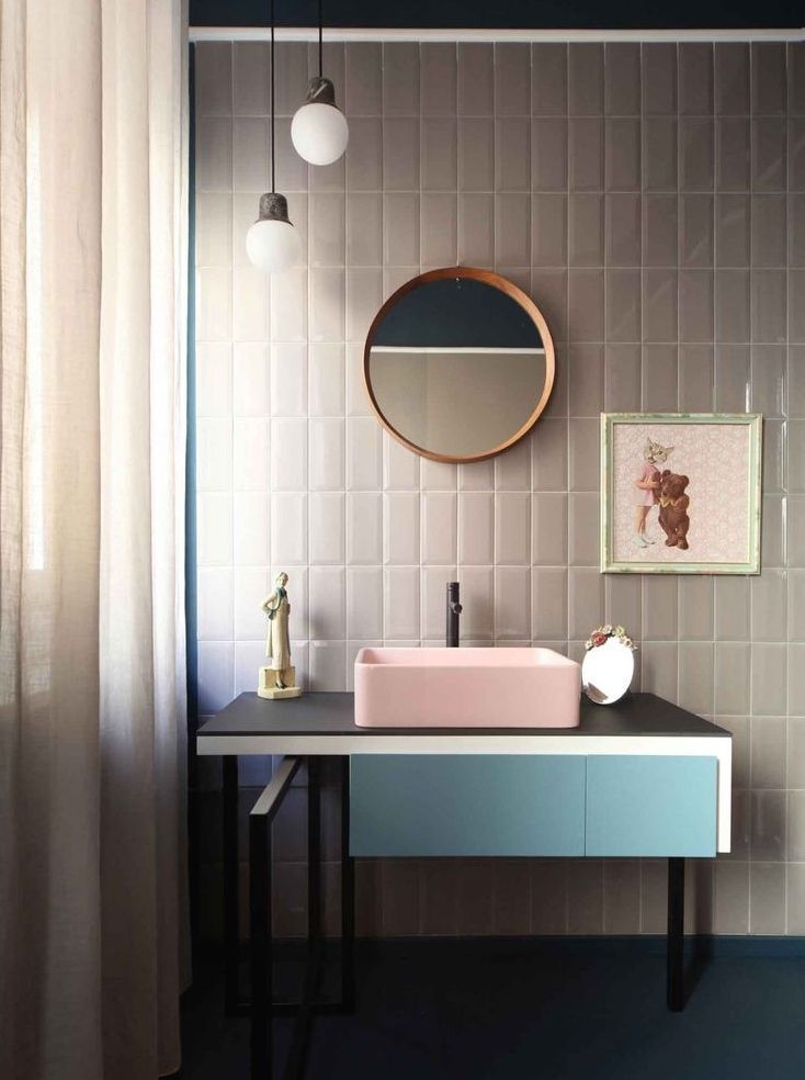 you had me at blush pink sink, greys & blues........... dream color combos