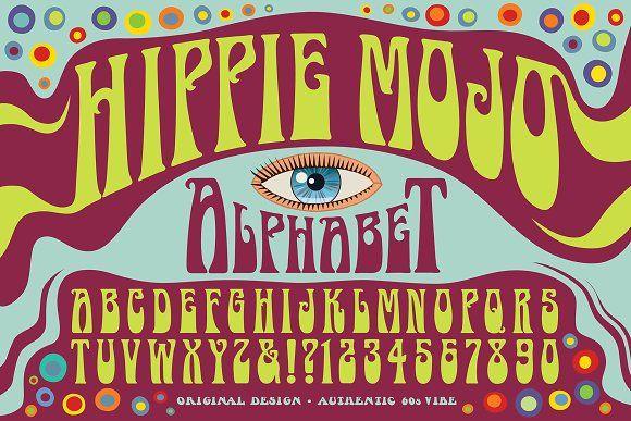 Hippie Mojo Alphabet Hippie Font Lettering Design Hippie