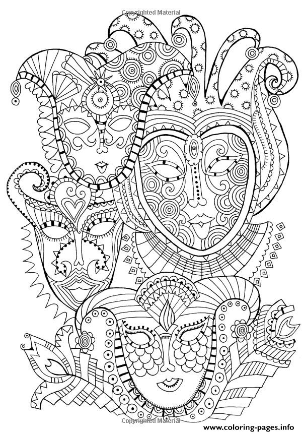Print adult zen anti stress mask carnival  coloring pages