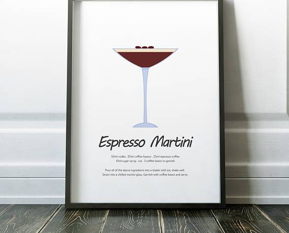 Espresso Martini Cocktail Recipe Print Cocktail Poster Kitchen Print Kitchen Poster Contempor Espresso Martini Martini Cocktail Martini Cocktail Recipe