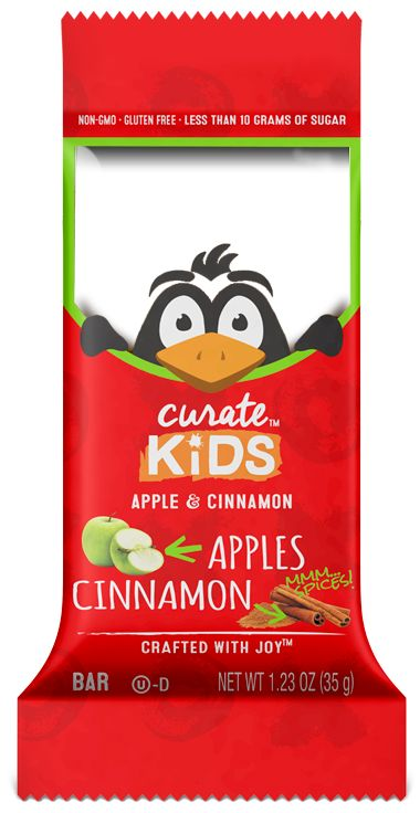The warm, familiar flavor of apples and cinnamon will keep your kids happy while the protein from cashews keeps them full. All Curate Kids Bars are non-GMO and gluten-free.