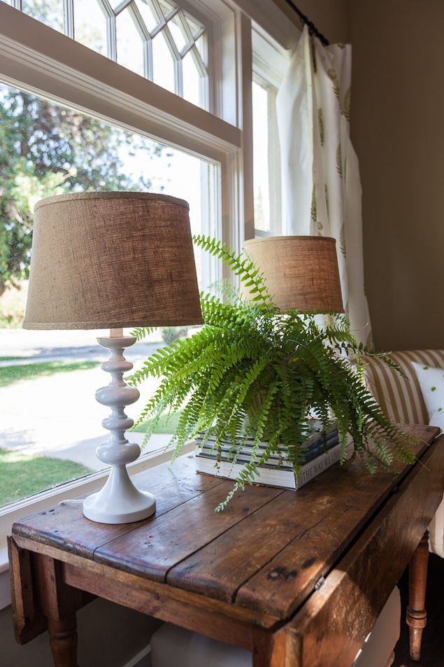 vignette - pair of lamps, stack of books, fern behind couch in front of window. Love this table!