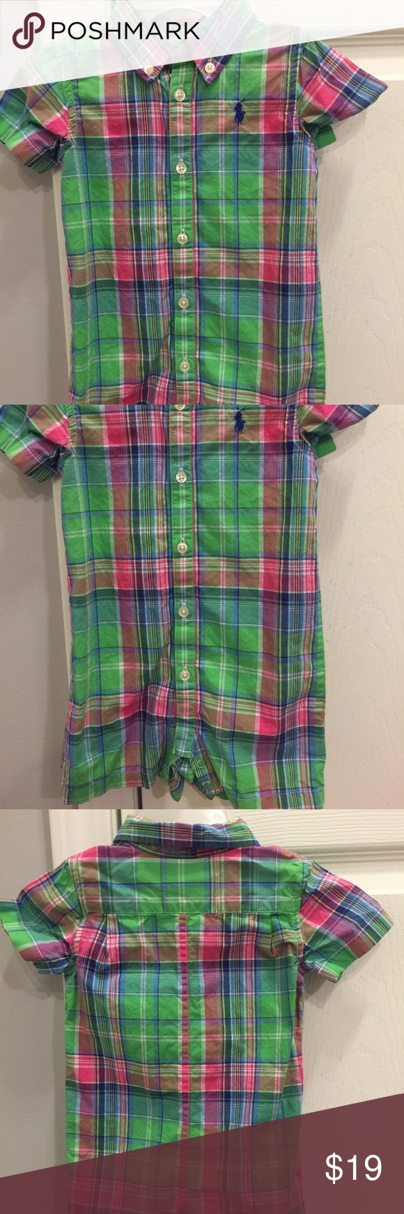 EUC!! Ralph Lauren baby boys plaid one-piece EUC!!!! How stinking cute is this?!?!  Perfect for spring and summer! Ralph Lauren baby boy's plaid button-up, collared, one-piece outfit! Ralph Lauren One Pieces