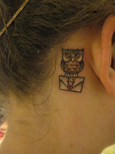 harry potter letter and owl tattoo