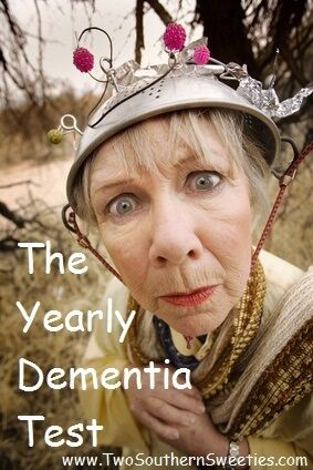 Blog post at Two Southern Sweeties : Our Yearly Dementia Test It's that time of year for us to take our annual dementia test. Exercise of the brain is as important as exerci[..]
