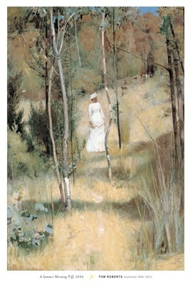A Summer Morning Tiff by Tom Roberts. Painted in Melbourne, 1886. Art Gallery of Ballarat, Victoria.  1943