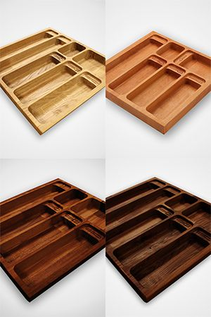 Choose from solid oak, beech, iroko or black American walnut varieties of cutlery drawer inserts from Worktop Express®. Precision cut and sanded for durability, these cutlery drawers are available in a range of widths to suit even the largest cutlery collection. http://www.worktop-express.co.uk/worktop_accessories/solid-wood-cutlery-drawer-inserts.html