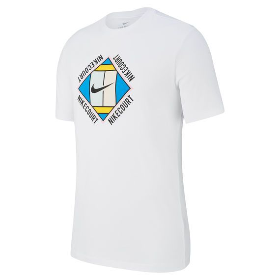 Nike Court T shirt Hommes Blanc , Noir   Homme blanc, T