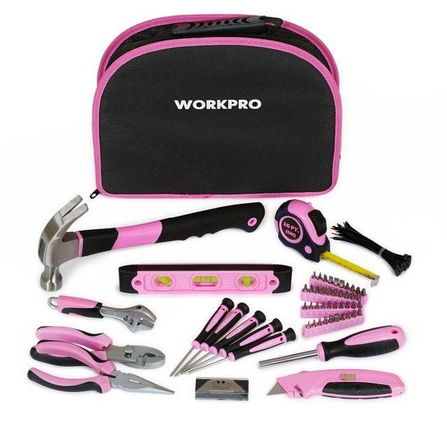 WORKPRO 103 Шт. Pink Lady Tool Set Общий Набор Инструментов Главная Tool Kit с Розовая Сумка На Молнии Бесплатная Доставка
