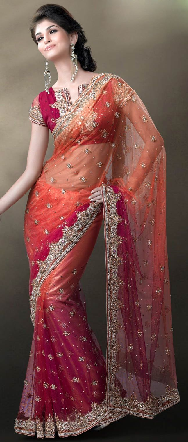 Peach and Dark #Pink Net #Saree with Blouse @ $349.43