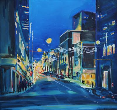 Yonge and Queen, Toronto.  Oil on Canvas, by Eden Elyse.