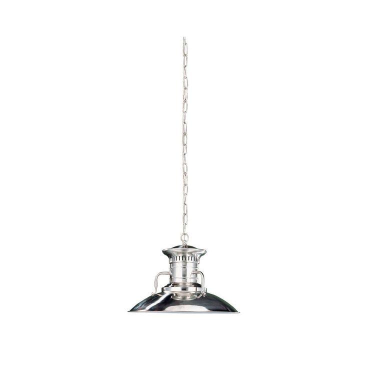 1-Light 120 in. Hanging Brushed-Nickel Large Pendant